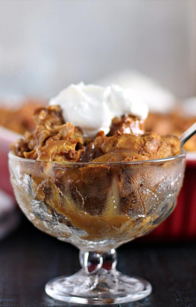 Side view of a serving of pumpkin bread pudding.
