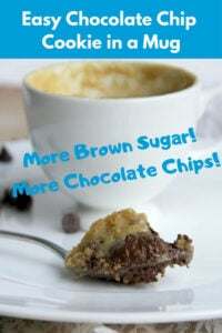 Chocolate chip cookie in a mug is decadent, chocolatey, and just right for a quick, small dessert to share...Or not! Bakes in about 40 seconds!