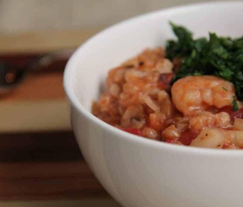 Slow Cooker Shrimp, Farro, and Tomato Risotto