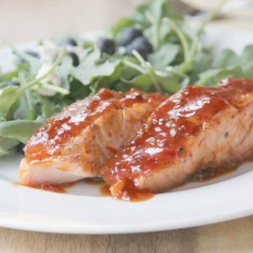 fish with apricot chili glaze