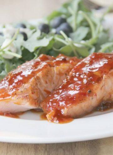 fish with apricot chili glaze