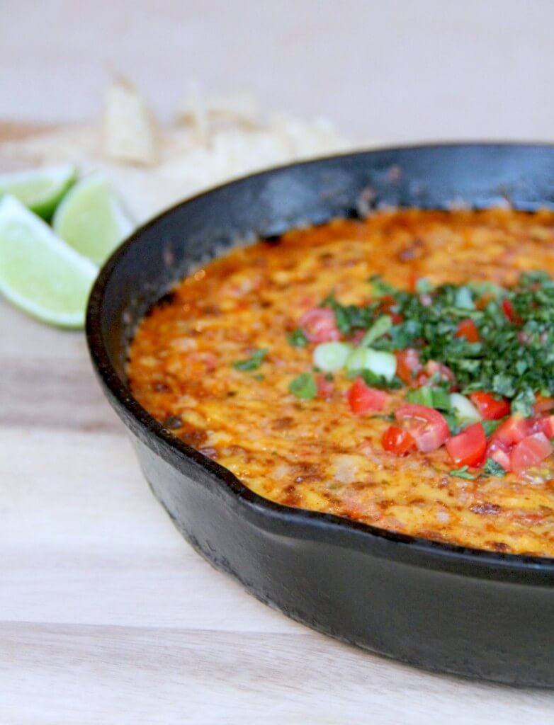 Pimento Cheese Queso Fundido with Chorizo--spicy, cheesy, and a favorite appetizer!