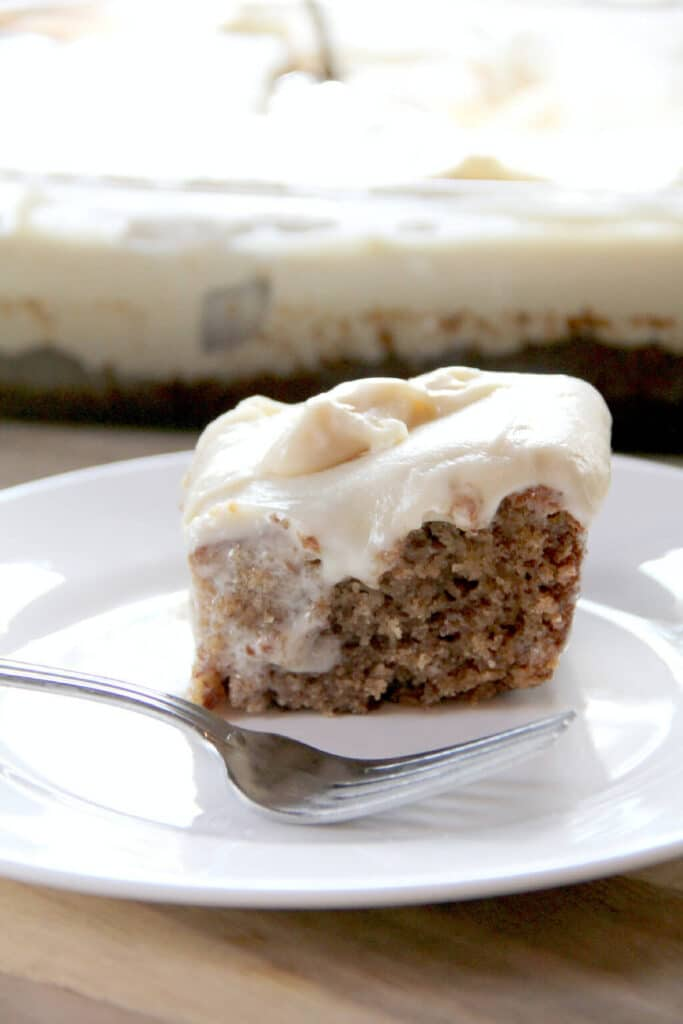 Banana Cake with Cream Cheese Frosting—moist, spicy banana cake with tangy cream cheese frosting!
