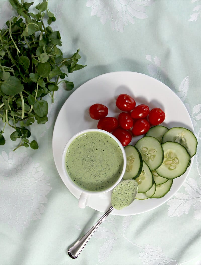 Green Goddess Dressing with cucumbers and tomatoes