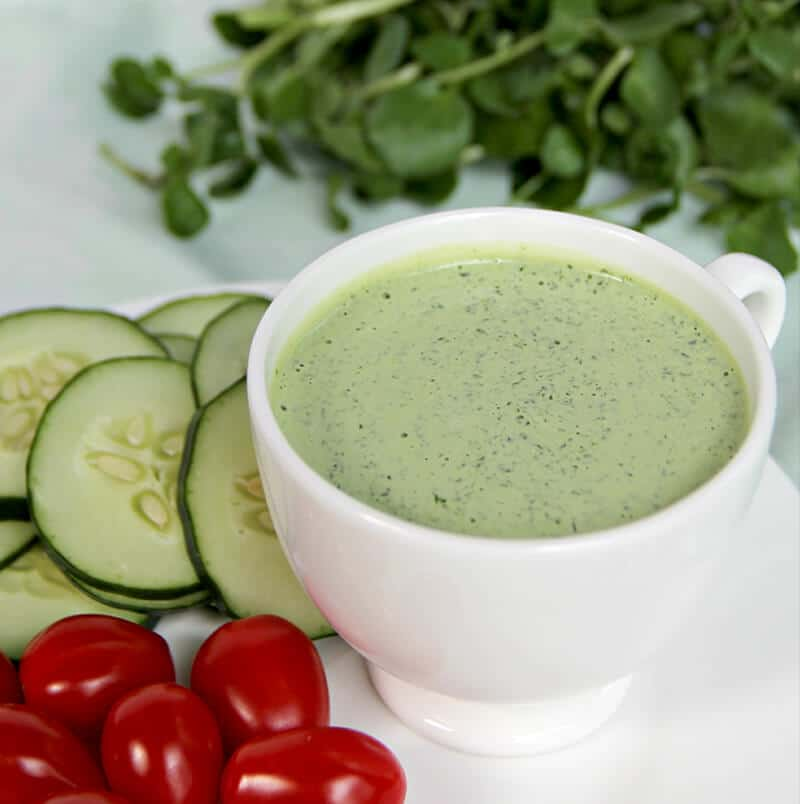 Green Goddess Dressing in a cup