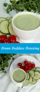 Green Goddess Dressing with vegetables on a plate