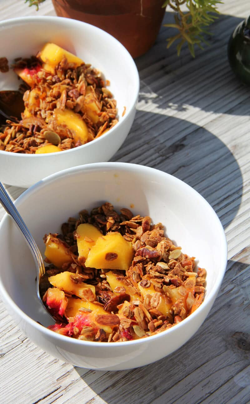 bowl of granola with peaches