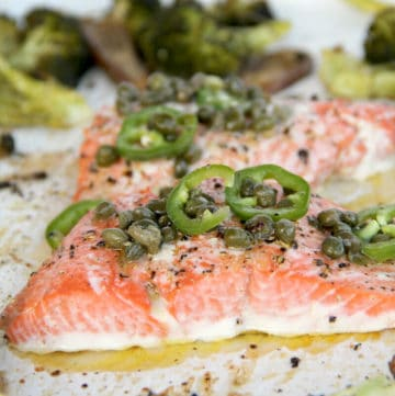 Salmon with Chili Caper Vinaigrette