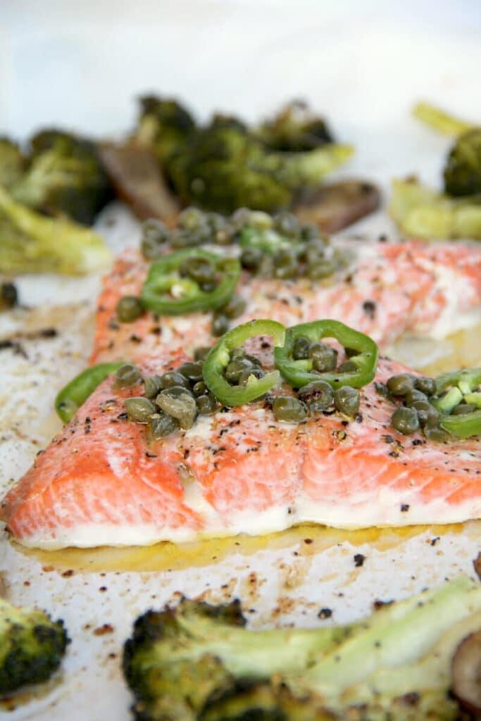 Salmon with Chili Caper Vinaigrette