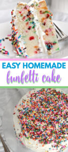 Funfetti cake makes everyone smile and this recipe is so easy it will make YOU smile! Grab your whisk and make the easiest, moistest cake ever!