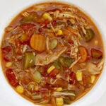 Chicken Vegetable Soup is filled with shredded chicken, butterbeans, corn, tomatoes, okra and onion—all frozen which means no chopping! Healthy, quick, and easy!