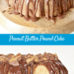 Peanut Butter Pound Cake topped with chocolate glaze and crumbled Reese's Peanut Butter Cups. If they could put Heaven on a plate, this would be it.