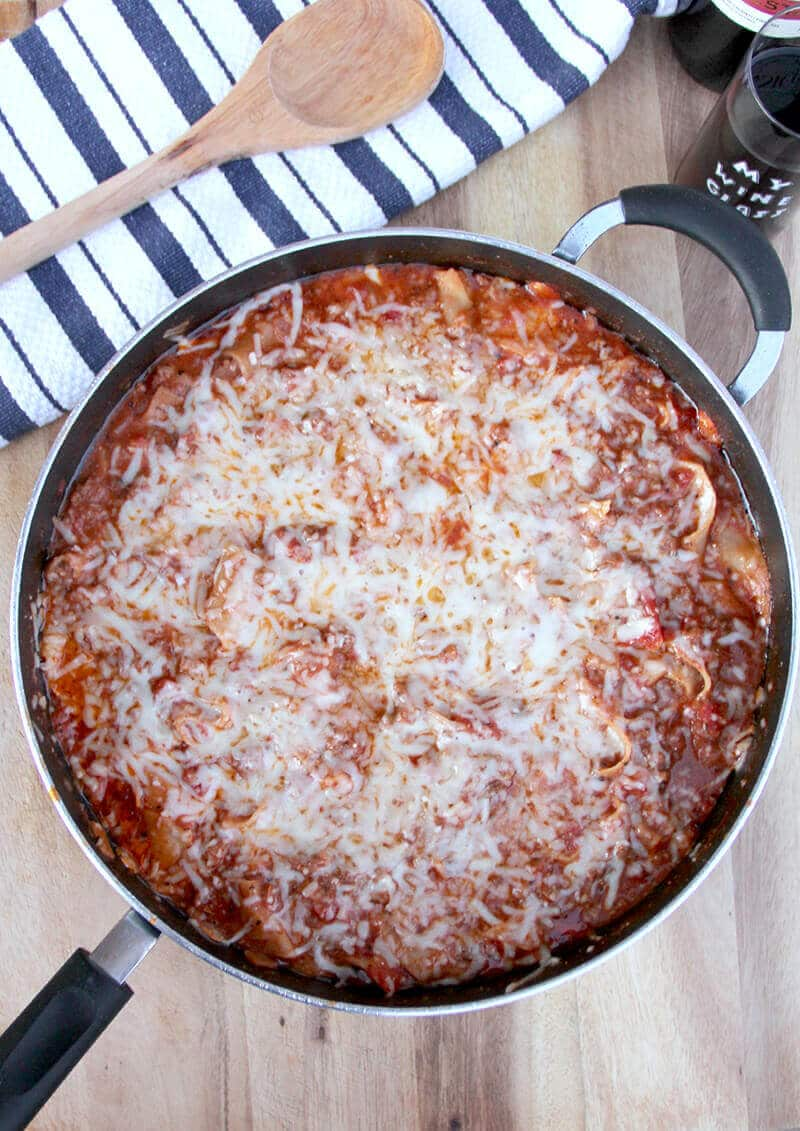 Easy Skillet Lasagna Without Ricotta Cheeseu2014just Sausage And Ground Beef,  Tomatoes, Noodles