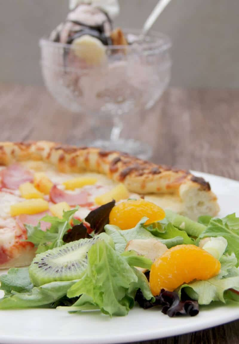 Hawaiian Salad and Freschetta Pizza