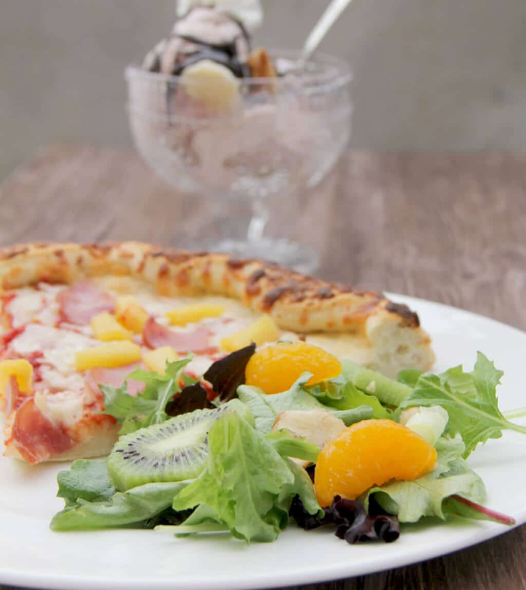Hawaiian Salad with Freschetta Canadian Bacon and Pineapple pizza makes a fun and quick dinner!