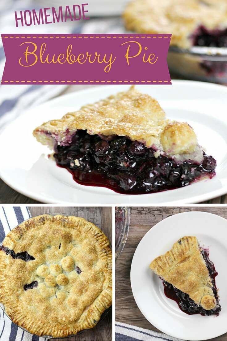 Homemade blueberry pie made with fresh blueberries is the perfect dessert—add a little whipped cream or vanilla ice cream on the side for a sweet summer treat!