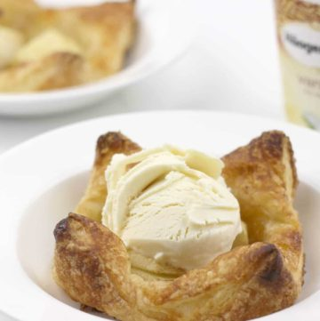 Apple tarts with orange-almond marmalade using puff pastry--quick and easy! Perfect for a weeknight dessert or even for company.