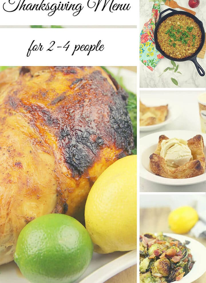 Thanksgiving Menu for two includes easy, smaller prepared dishes that will feed 2-4 people, and you'll have just enough leftovers for a few sandwiches!