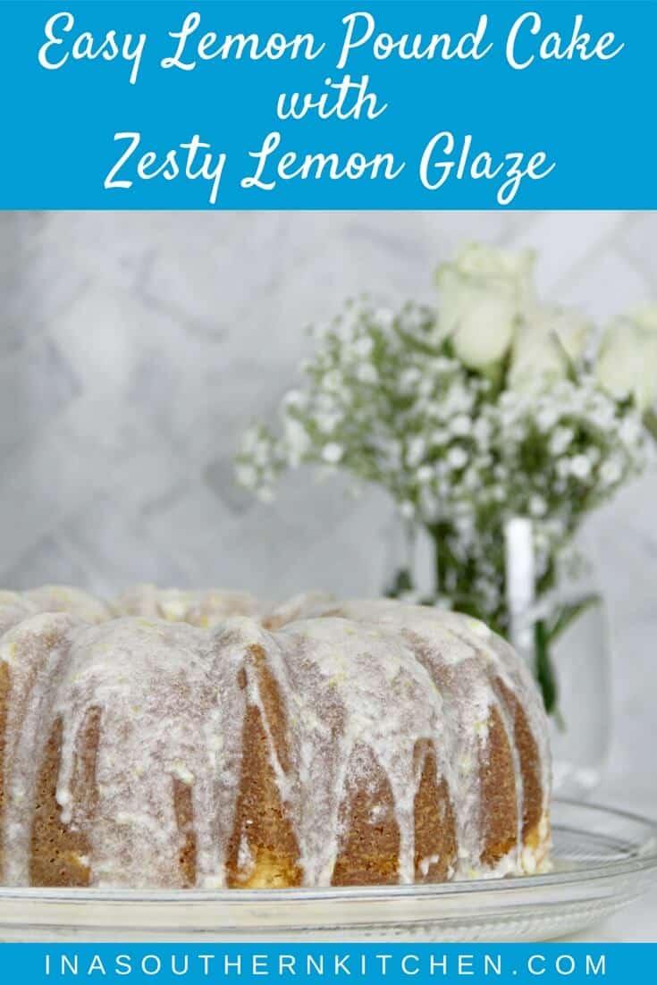 Easy Lemon Pound Cake with Lemon Glaze is a simple recipe using the Cream Cheese Pound Cake base and adding a zesty lemony glaze—it's fresh, pretty, and lip-smacking good!