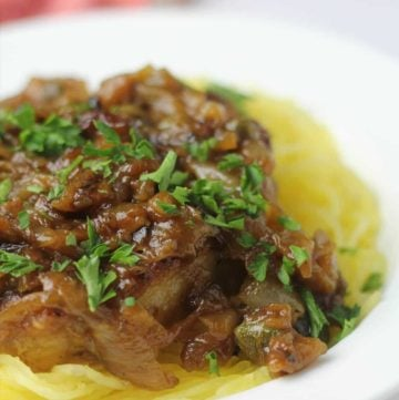 These amazing pork chops with caramelized onions, capers, and white wine are delicious with noodles, mashed potatoes, cheese grits, or spaghetti squash.