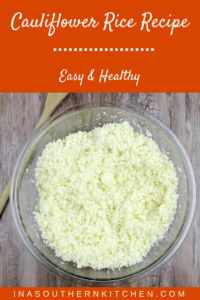 This cauliflower rice recipe makes a carb-free alternative to rice and potatoes that can accompany almost any meat or vegetable dish.