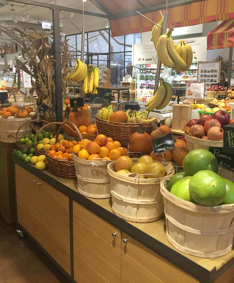 Chicago Food guide featuring fresh fruits in Eataly