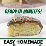 One Layer Cake recipe that's SO EASY and is perfectly moist and tender every time. No stand mixer required and your cake is ready in about 45 minutes start to finish!