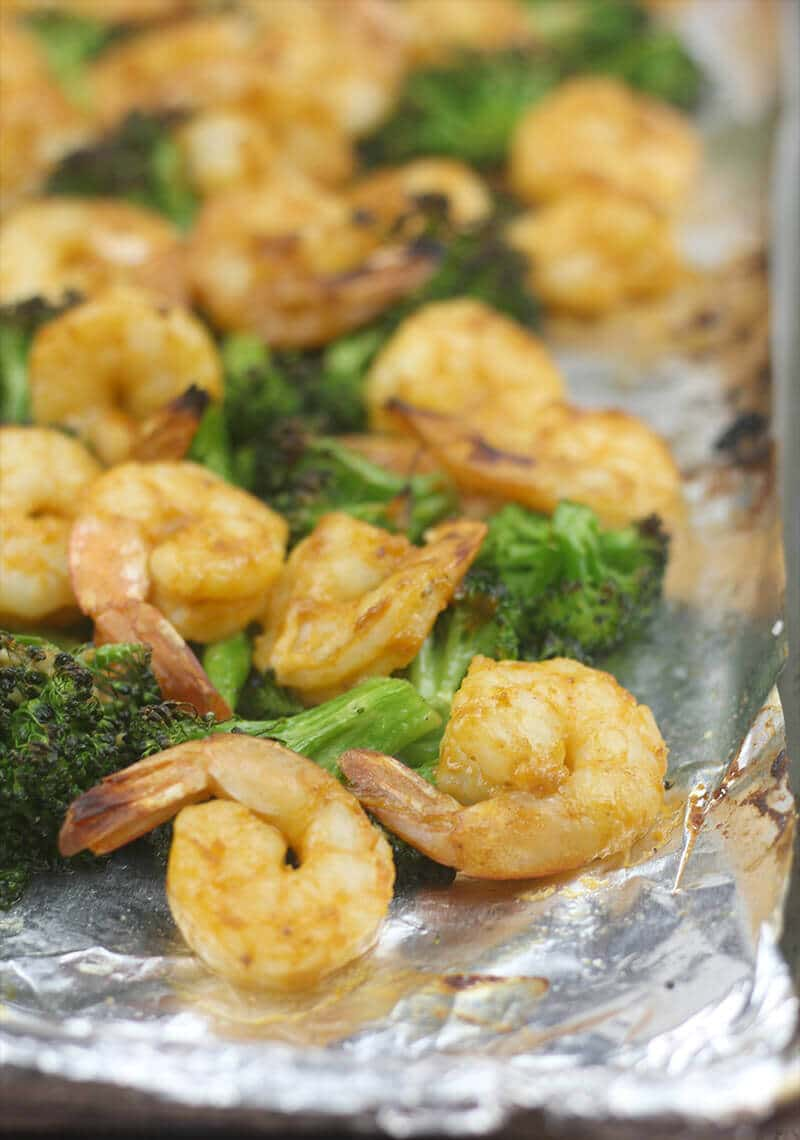 Broiled Shrimp with Vegetables on baking sheet.