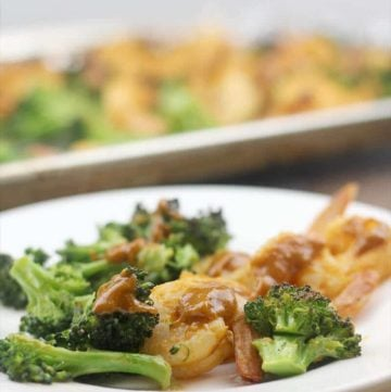 Broiled Shrimp with Vegetables and spicy peanut sauce.