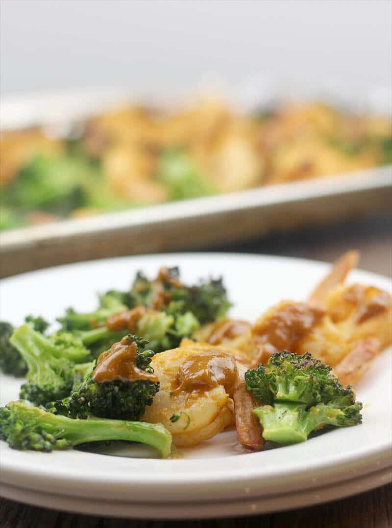 Broiled Shrimp with Vegetables and Sriracha Peanut Sauce
