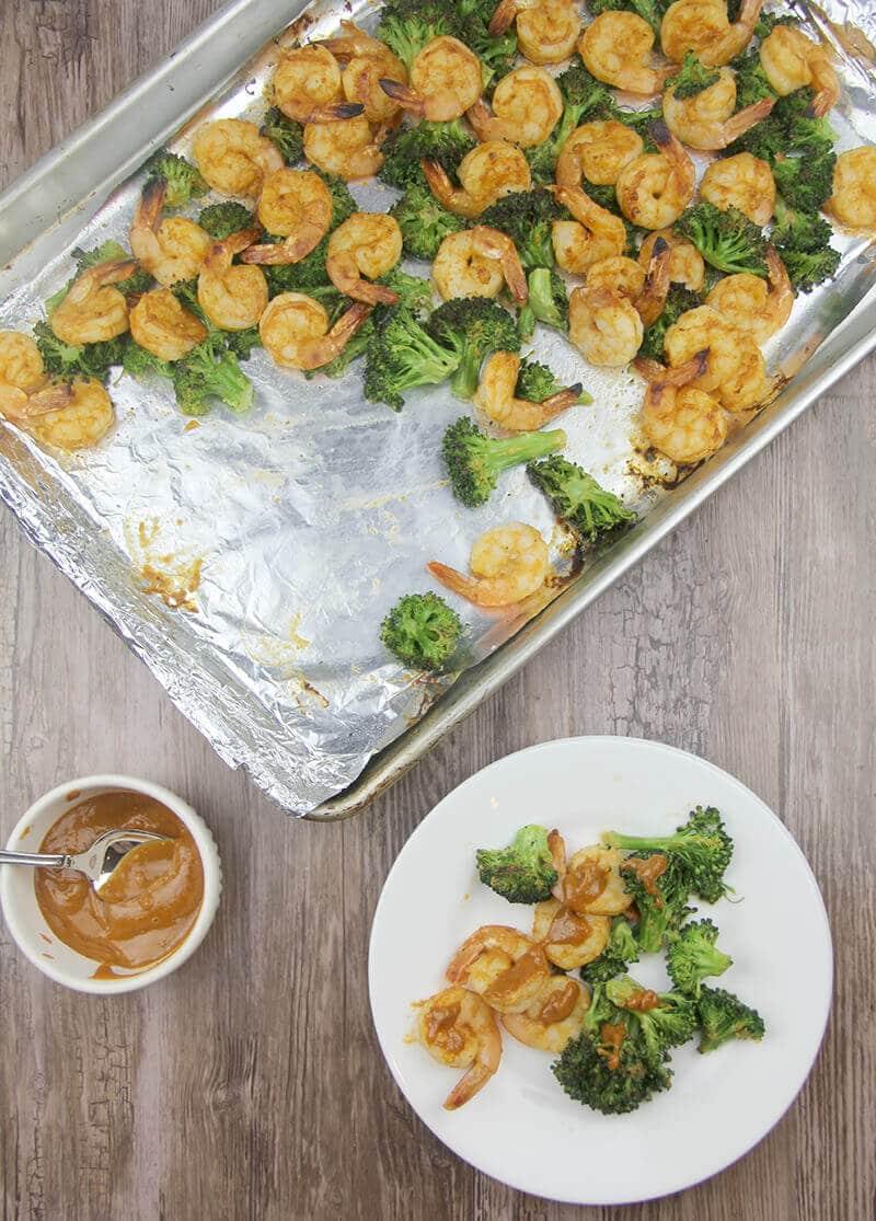Broiled Shrimp with Vegetables with sriracha peanut sauce.