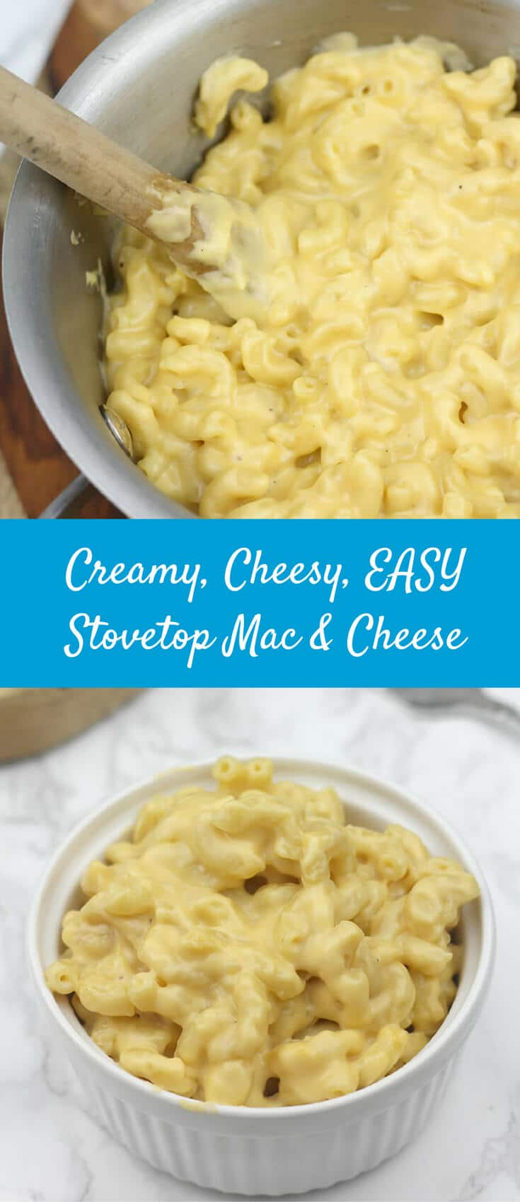 One-Pot Stovetop Mac and Cheese—The water and milk that cooks the noodles also makes the sauce for the creamiest, cheesiest, EASIEST mac and cheese ever!
