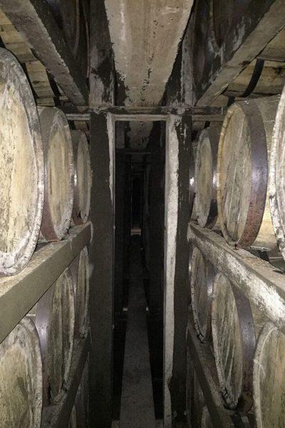 Rows of bourbon barrels at Buffalo Trace distillery.