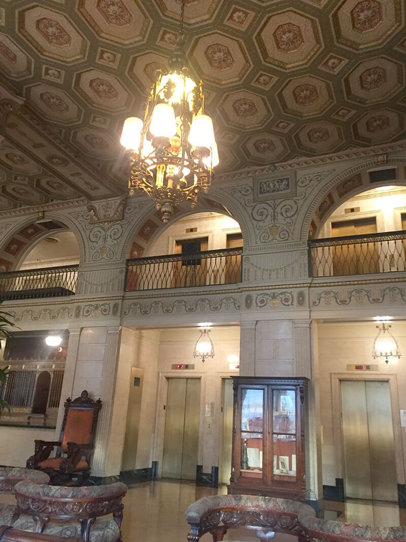 Kentucky Travel Guide showing The ceiling in the lobby at the Brown Hotel.