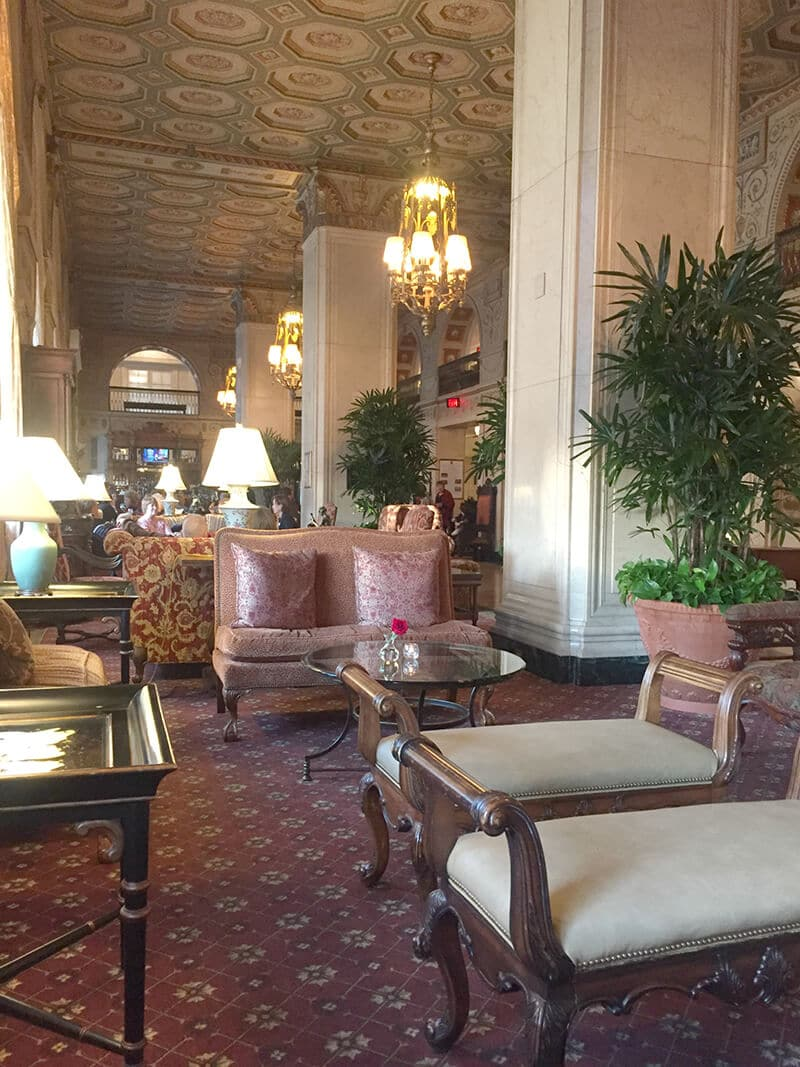 Kentucky Travel Guide showing The lobby area of the Brown Hotel.