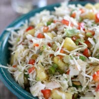 Pineapple Coleslaw with Jalapeño and Red Bell Pepper