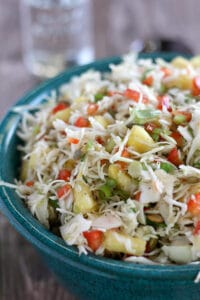 Pineapple Coleslaw with jalapeno in a serving bowl