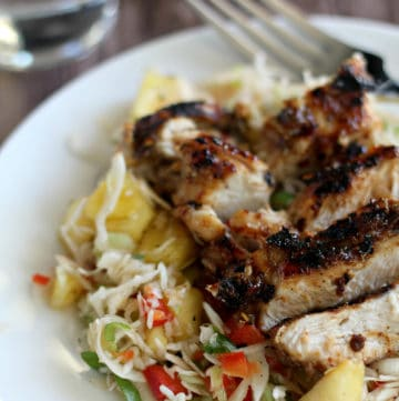Pineapple Coleslaw with jerk chicken