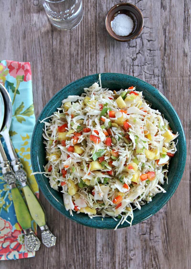 Pineapple Coleslaw in serving bowl