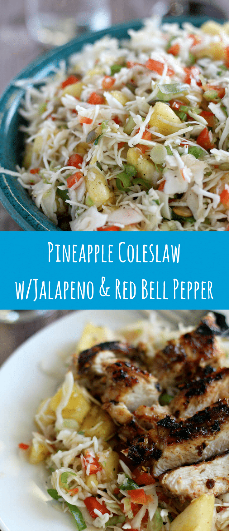 Pineapple Coleslaw with jalapeno and red bell pepper is just what you need to liven up your summer cookout! An easy, make ahead dish that's ready in minutes.