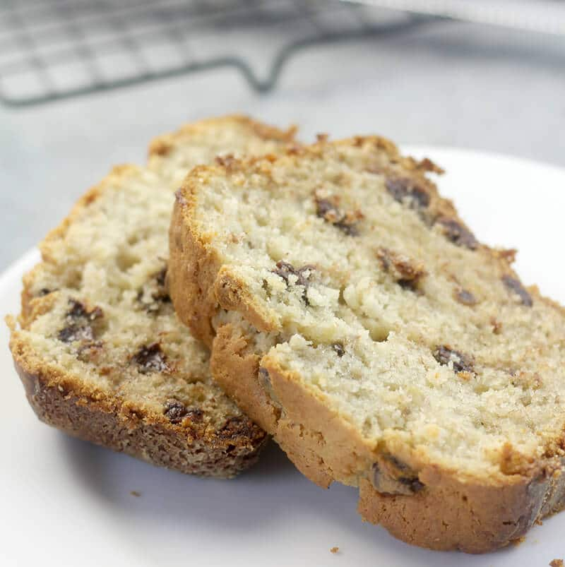 Chocolate Chip Banana Bread is made with cream cheese to keep it super tender and moist. With lots of chocolate chips, this one is a special treat!