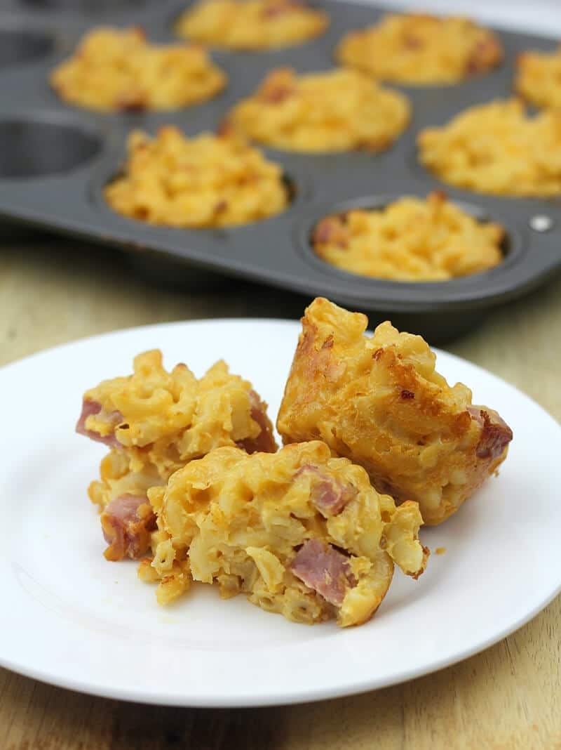 Mac and cheese muffins on a plate