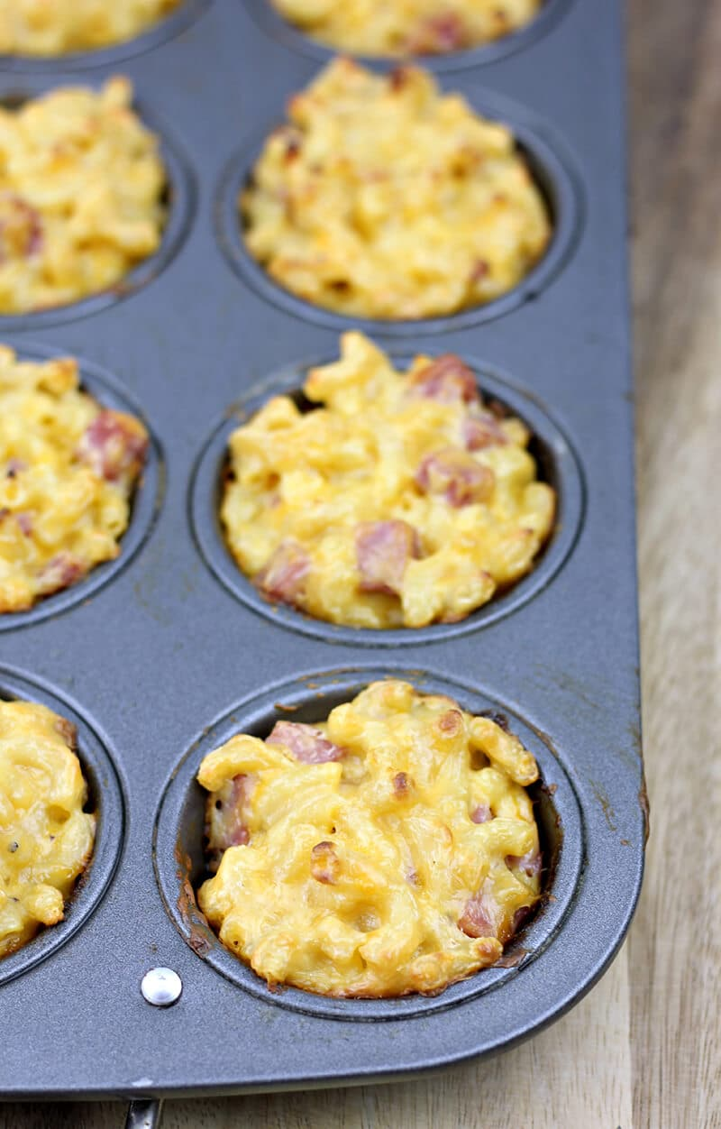 Mac and cheese muffins in muffin pan