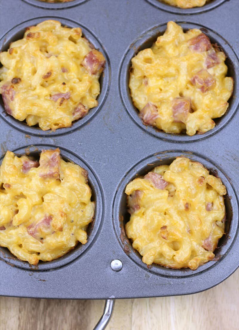 Mac and cheese muffins in pan