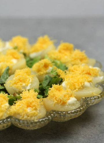 Pear Salad on deviled egg platter