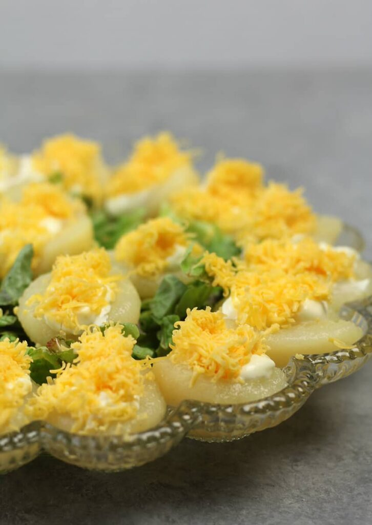 Pear Salad on deviled egg platter