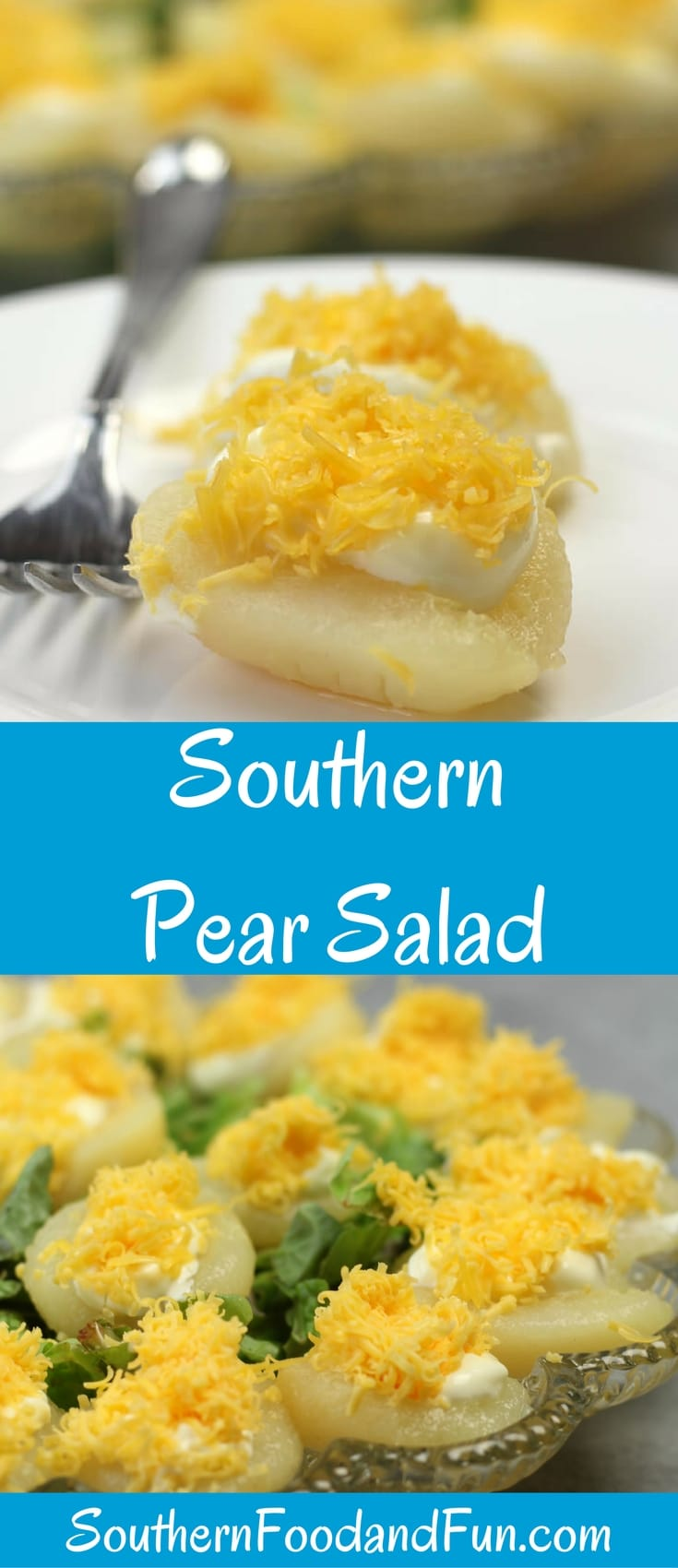 Pear Salad made with grated cheese and mayonnaise is an old-fashioned Southern favorite. Serve it as an appetizer or side dish to go with almost any meal.
