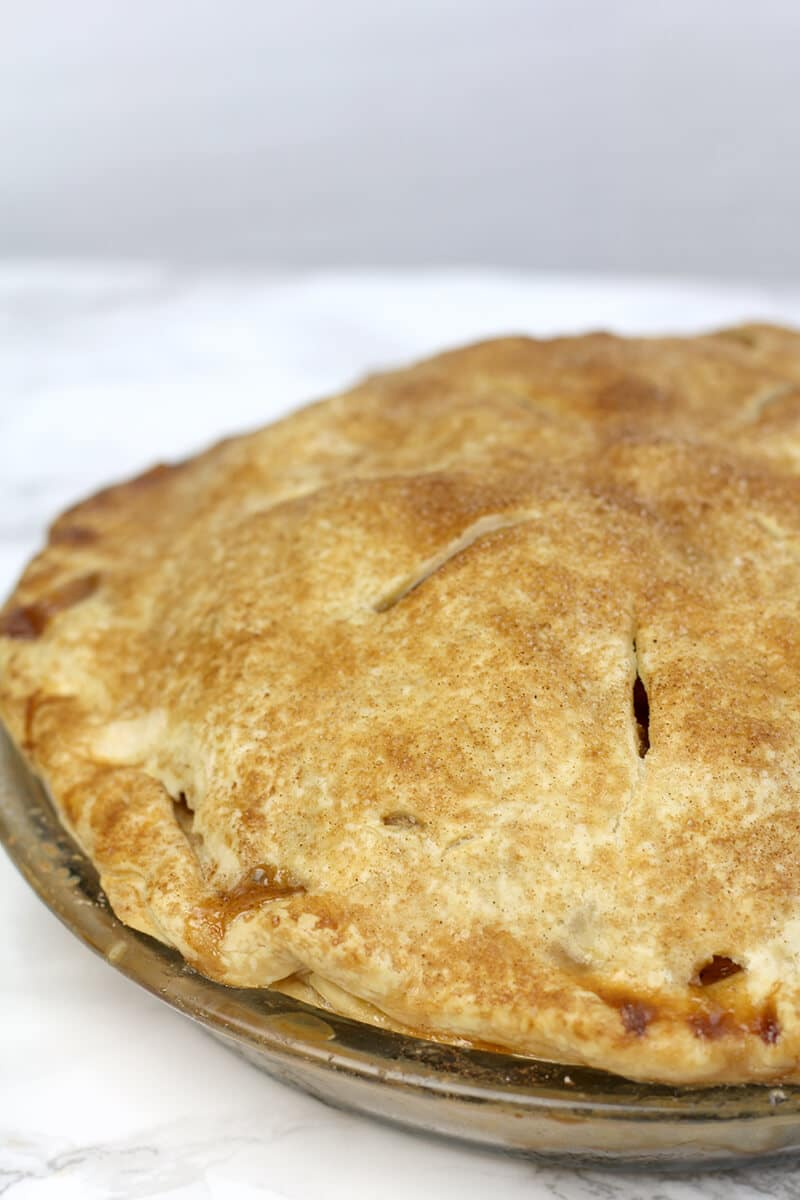 Side view of Double-Crust Apple Pie.
