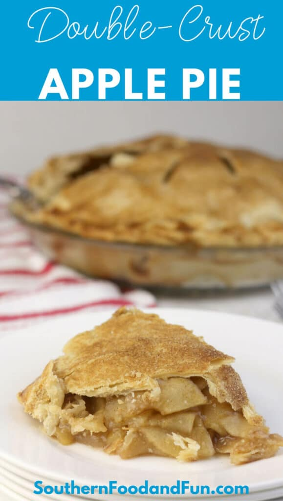 This easy double-crust apple pie recipe will become a classic for your recipe box. The filling is luscious with a hint of cinnamon and lots of apples!