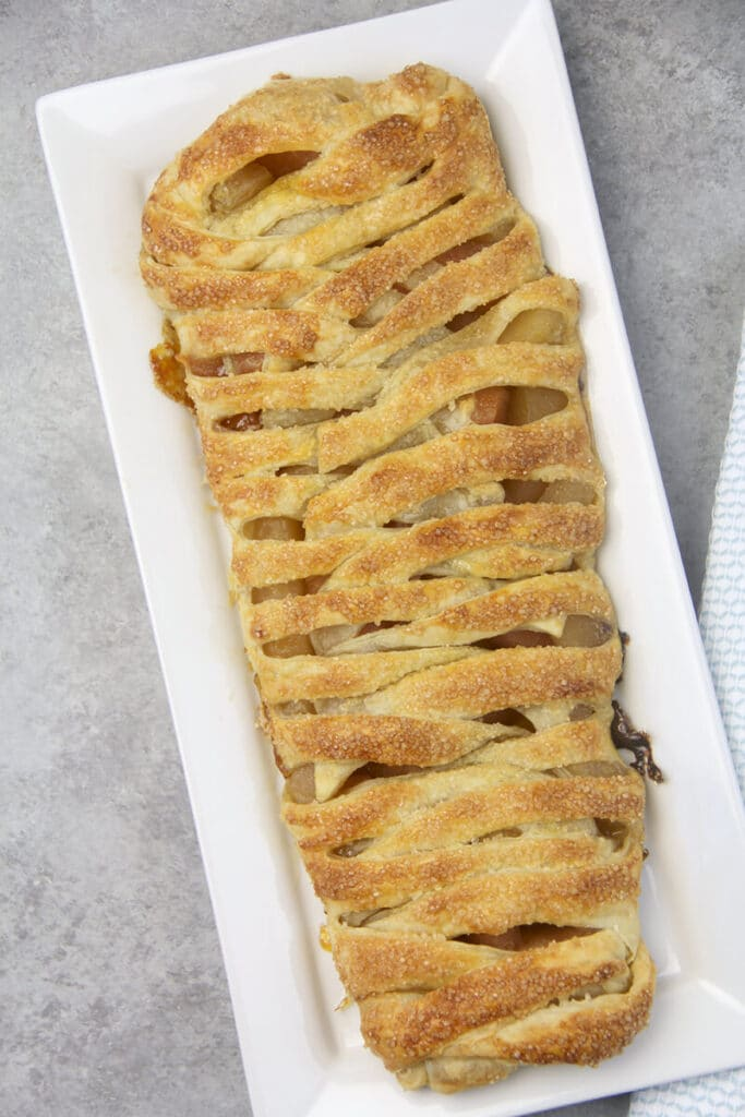 Easy Apple Strudel on platter.